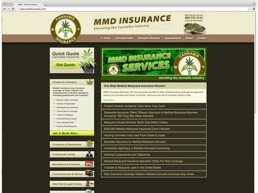 cannabis insurance landing page