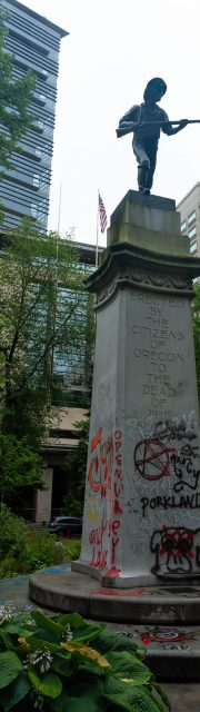 Portland Oregon State. USA 06.12.2020. A painted city after the rallies. BLACK LIFE IS MATTER, painted monument, vandalism